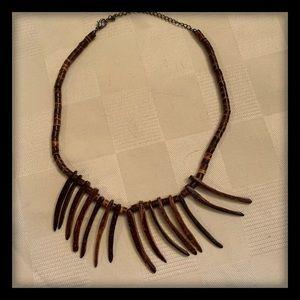 Boho wood grain necklace